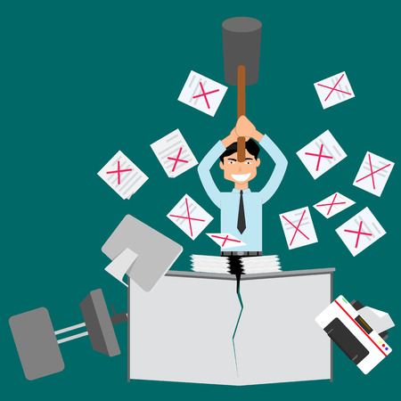 Mistake hard work. Angry businessman and Paper scattered. Vector flat style