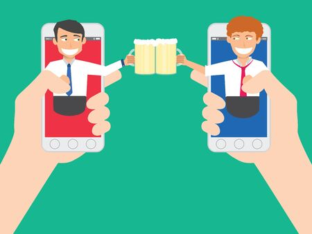 Cheers. business people holding beer from out off of the smart phone screen. wide vector design. Illustration