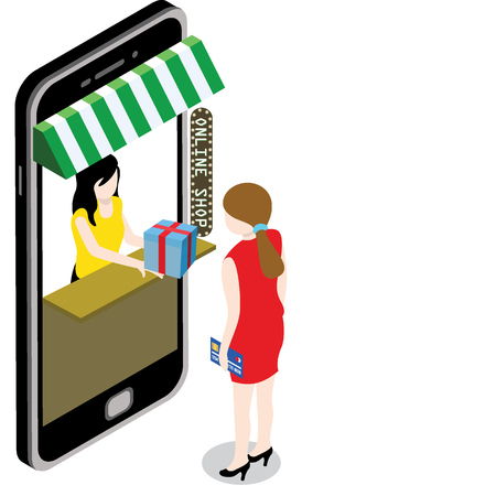 Online mobile shop store sale delivery shopping concept. flat vector design