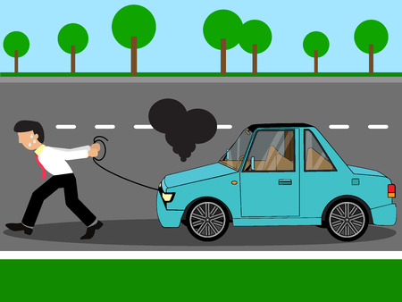 sweaty: Employees pulling damage car to repair shop on the street. Wide vector style.