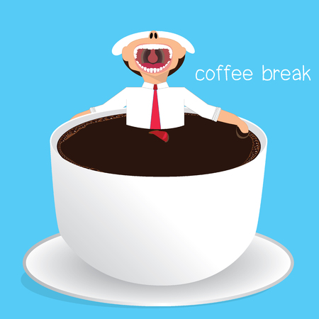 Businessman relaxing in a cup of coffee, break time, coffee lover, coffee break Vector concept