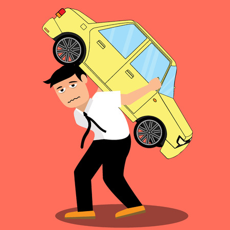 Businessman with debt carrying a car vector