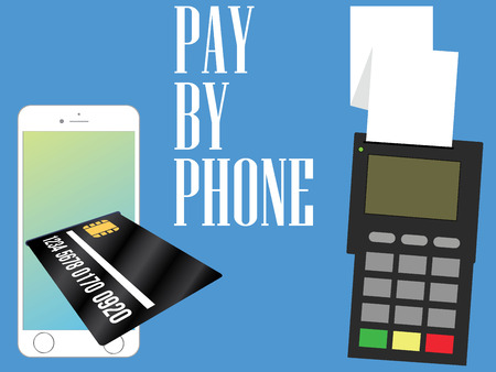 smart card: Mobile payment with online banking. Vector flat illustration Illustration