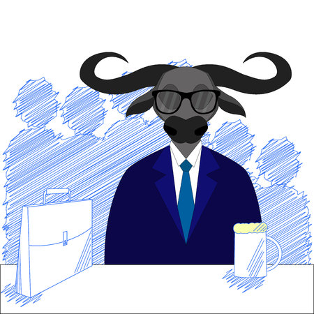 Drunk buffalo. Alcohol and glass, person sit front table. vector style