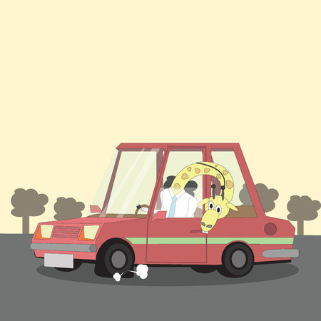 artificial model: giraffe is driving to work and head stretching out of the car to see a leak tire. Vector stlye. Illustration