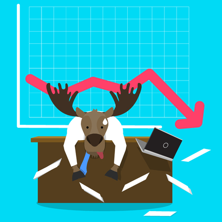stockholder: Moose in businessman suit Leaning His Head Below on decreasing graph chart, business failure, Flat concept vector. Illustration
