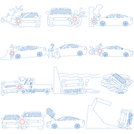line stripe icons of personal car accident and insurance sign. In vector style.