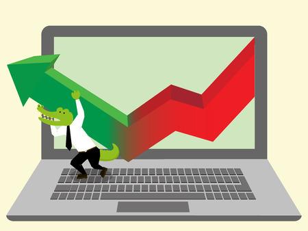 bullish: Man with Increasing Graph or Chart on Laptop flat vector design Illustration