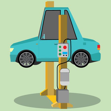 Car repair. the car lifted on auto lifts. Vector illustration of a flat design Illustration