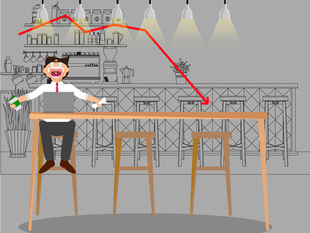 gloom: Business man sad with stock trading graph working in coffee shop. flat vector design. Illustration