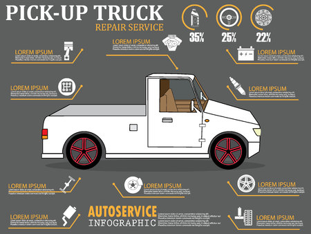 gasket: color cartoon pick-up auto service info graphics flat vector design