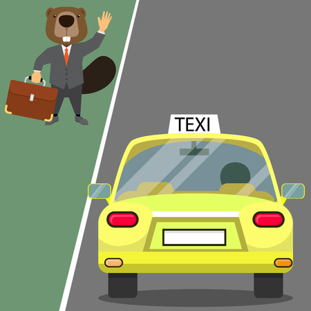 castor: Beaver in suit Waving a taxi for service. flat vector design Vectores