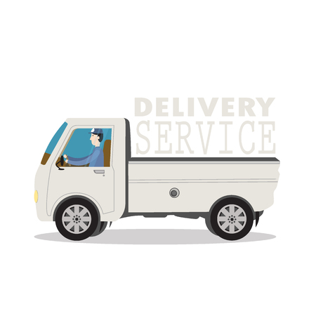 pasteboard: Vector isolated delivery truck with driver for add text to complete Illustration