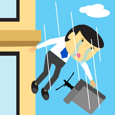 man flying: businessman crying falling from the workplace with chair serious disappointment. flat vector design.