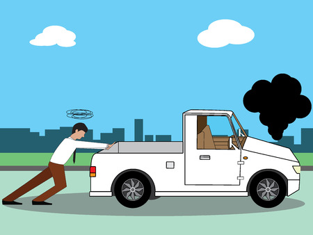 shove: Business man pushing his broken pick-up or a car out of gas, on flat vector style.