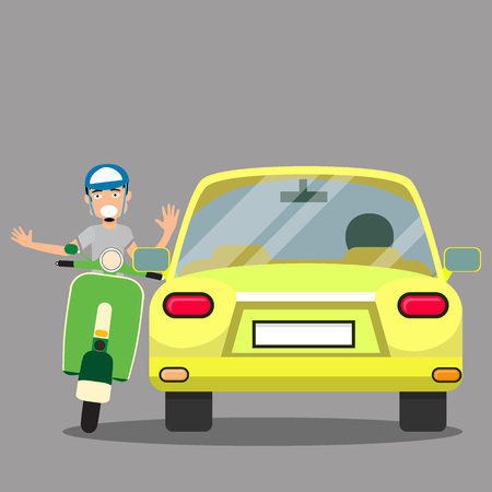 skid: uptight vehicle driver and Issue with scooter. Flat Vector Illustration
