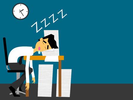 Zakenman slapen op zijn bureau met moe en veel document. Vlakke vector ontwerp. Vector Illustratie