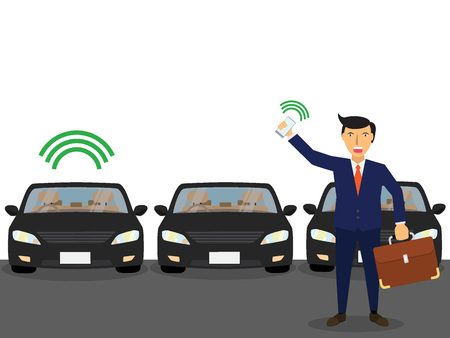 business man use the application. From the phone call to find their own car that is similar to other cars. flat vector design Illustration