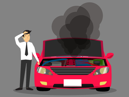 Businessman standing near broken car and confused. Vector flat cartoon illustration