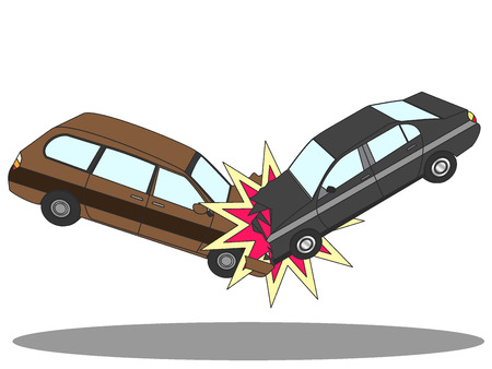Illustration of two cars involved in a car wreck. Simple flat vector style. Illustration