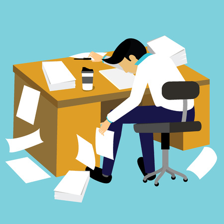 Hard work and lazy businessman. flat vector style. Illustration