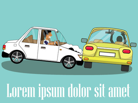 Cars involved in a car wreck. Simple flat vector style.
