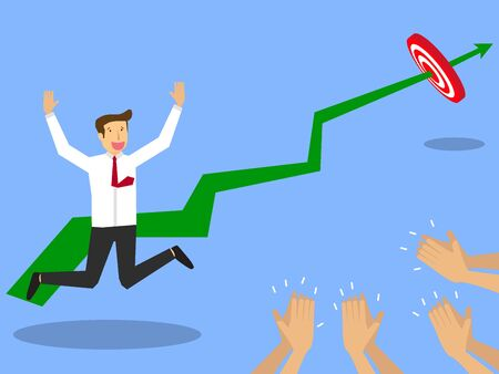 praise: Businessmen achieve the set goals. With gladness leap floating. And a colleague applauded. Flat vector design. Illustration