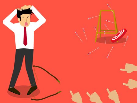 Blind businessman try to hit a target. flat vector style. Illustration