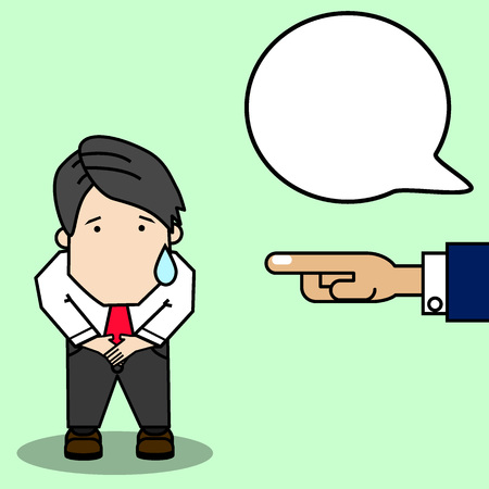 Hombre de negocios amortiguación porque no hizo su trabajo bien, problema de trabajo. Estilo de vector divertido