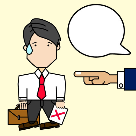 Businessman character hold briefcase be fired from office. Funny vector style.