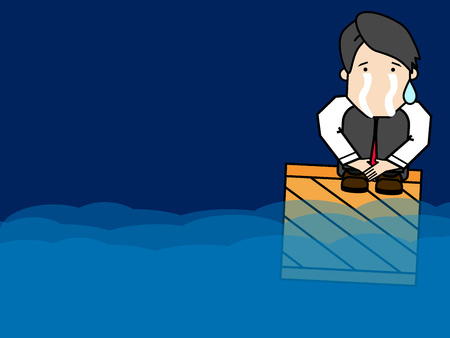 Businessman crying was left in the middle of the ocean. Funny vector style.