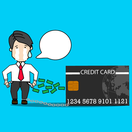 Businessman crying because of credit card debt.