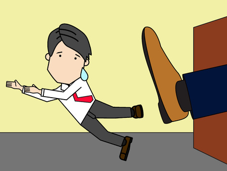 kicked out: businessman being kicked out of company funny flat vector style Illustration