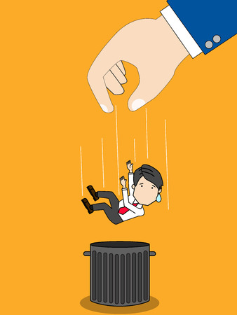 refuse: businessman dropped into trash can in layoff. Funny flat vector style.