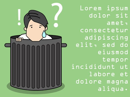 lay down: Businessman hide dropped in trash. Funny flat vector concept.
