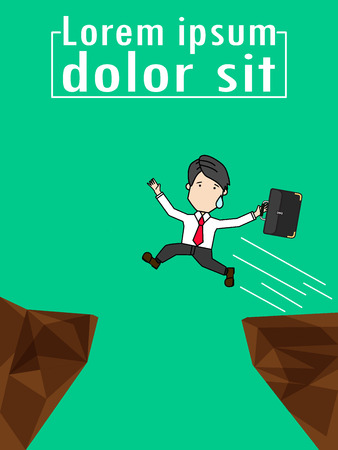 Businessman Jump Through the Gap Between Cliff, Funny vertical vector style.