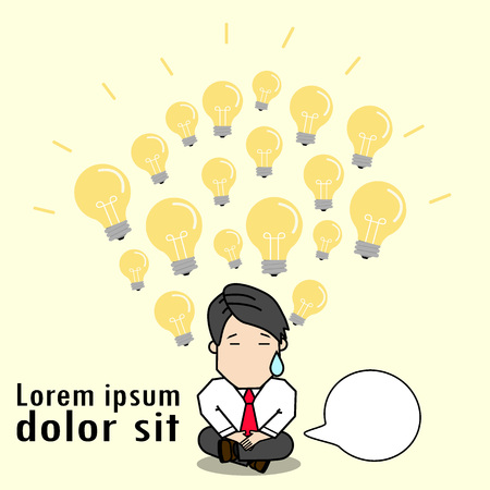 Light bulb and brain from businessman meditating. Funny vector style.