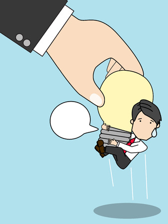 pick light: ideal stealing pick up businessman idea while. Funny flat vector style.