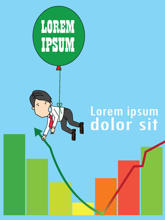 Businessman on a balloon giving hand to help the graph, Funny vertical vector style.