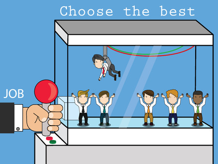Employers choose employees from the game cabinet. To be businessman in company. Funny wide vector style.