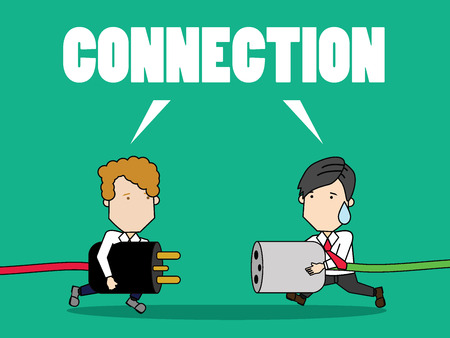 Businessmen connecting a power cord for success in target. funny vector concept