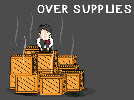 Businessman sitting dismayed on a stack of crates with rotten goods inside. In excess of market necessity. Funny vector style.