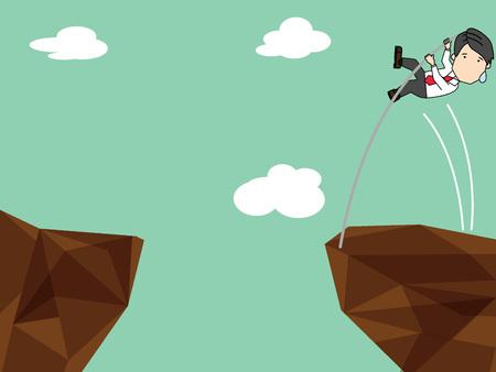 Businessman pole vault height cross cliff forward. Ilustração