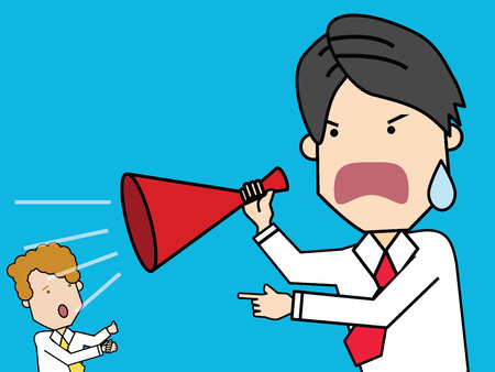 Businessman holding megaphone and shouting in colleague. Funny vector style.