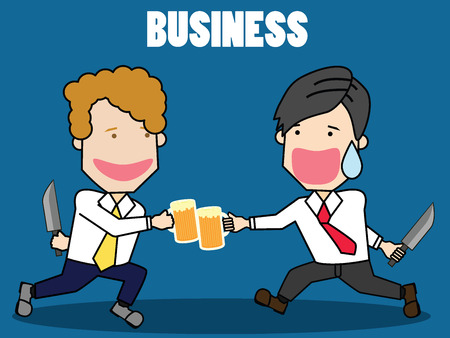 steins: Two businessman with beer. There is a strange purpose hidden behind. Funny businessman vector style.