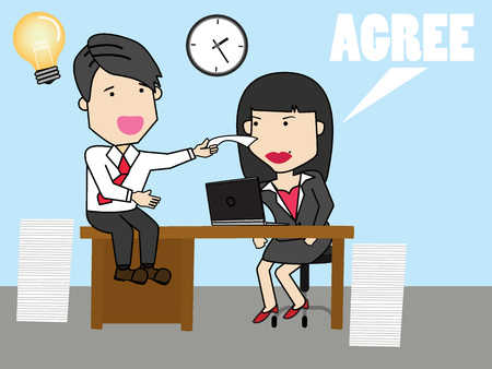 persuade: Employee employee discuss work with female colleagues. Funny vector concept.