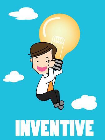 businessman flying with balloons idea bulbs. Funny vector concept.