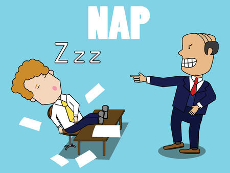 Boss in suit angry Employee fall asleep during working. Funny vector style.