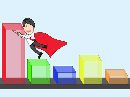 super man: businessman is pulling a graph that is low falling to be growth soaring. Funny vector style.