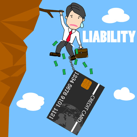 Businessman try hard to hold on the cliff with card burden. Funny flat vector concept. Illustration